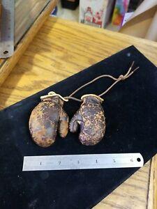 "Vintage miniature leather boxing gloves Salesman Sample Car Mirror Hanger""Rare"""