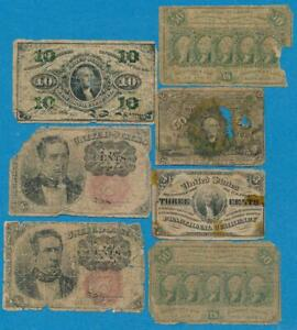 7 NOTE MIXED  FRACTIONAL JUNK LOT DEALER REJECTS  IMPERFECT / LOW GRADE