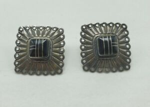 Carolyn Pollack QT Black Onyx Gemstone Southwestern Sterling Pierced Earrings