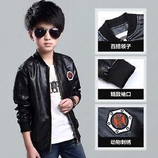 New Fashion Kids Boy Motorcycle Leather Jacket Biker Coat Children's Overcoat