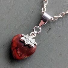 Small Beautiful Jasper Heart & Lotus Flower  Pendant Chakra Wiccan Pagan CHAKRA