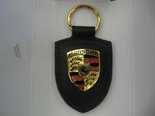 Genuine Leather Black Porsche Crest Key Chain WAP05009012