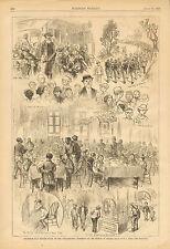 Philadelphia Newsboys July 4th Dinner Vintage 1877 Original Antique Art Print
