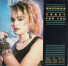 "MADONNA  Crazy For You  PICTURE SLEEVE 7"" 45 rpm record + juke box title strip"