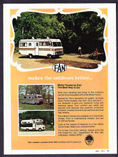 "1972 Fan 19 ft 22 ft. 26 ft. Motor Homes photo ""Best Way to Go"" promo print ad"