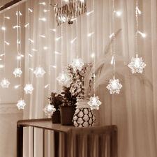 WHITE 3M 128LED WINDOW CURTAIN CHRISTMAS SNOWFLAKE LIGHTS XMAS STRING LIGHTING