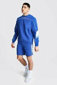 NWT - BOOHOO Men's 'OFFICIAL MAN' Blue SHORT SWEATER TRACKSUIT - XL