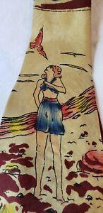 1940s 1950s Girl Pinup Novelty VTG SWING Silk TIE CRAVAT Girl on Beach