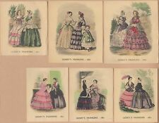 6 Small Godey's Fashions Engraved Color Prints from the 1850s