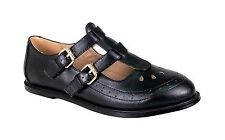 Womens Girls Flat Cut out Mary Jane T-bar Geek PUMPS Black Patent Shoes Sizes Black Matt UK 5 EU 38 US 7