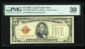 DBR 1928-F $5 Legal Wide I STAR Fr. 1531Wi* PMG 30 Serial *08753411A