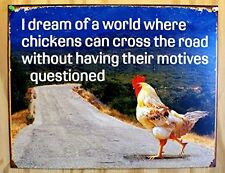 Chicken Crossing Road Retro Metal Tin Sign Vintage Wall Art Home Office Decor 1