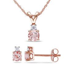 10k Rose Gold Morganite & 1/10 Ct TDW Diamond Necklace & Earrings Set G-H I2-I3