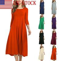 US Women Long Sleeve Shirt Long Maxi Dress Casual Swing Skater Midi Dress GIFT