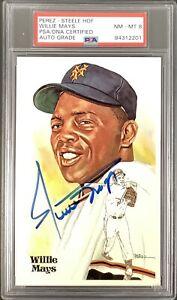 Willie Mays Signed Perez Steele Postcard Baseball NY Giants PSA/DNA Auto NM-MT 8