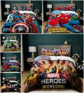 Marvel Heroes Bed Set Boys Quilt Duvet Cover Pillowcase Single Double King Size