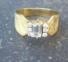 Designer Ring mit Aquamarin und Zirkonia Gold 585 14K Sonderschliff  Gr. 61