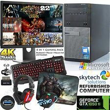 "Dell Gaming PC Intel i5 22"" Moniteur GTX 1050 Ti Windows 10 Ordinateur 4K USB 3.0"