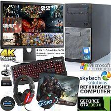 "DELL GAMING PC INTEL i5 22"" MONITOR GTX 1050 TI WINDOWS 10 COMPUTER 4K USB 3.0"