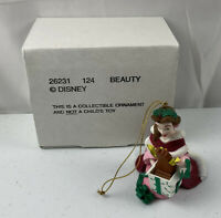 Grolier Disney Christmas Ornament Beauty and the Beast Belle Cogsworth box