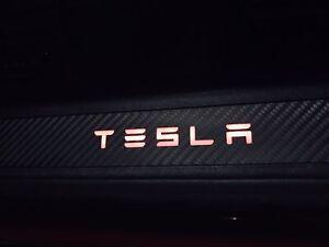 LED Door Sill for Tesla Model S illuminated Carbon Fiber Trim