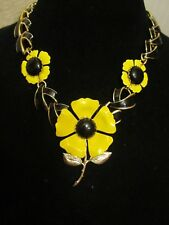 Vintage Emmons Yellow Enamel Flower Statement Necklace-A Repurposed Original!!