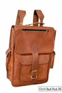 Vintage great Style Large Real Genuine Leather Bag Rucksack Backpack Study