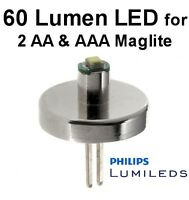 MINI MAGLITE LED UPGRADE 2 AA or 2 AAA 0.5w Philips  Bulb Torch Conversion