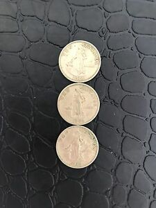 Lot Sale (3pcs) 1964 Philippine Ten Centavo Coin Female, Hammer and Anvil