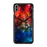 Angry Space Skull Face Twinkling Blue Magical Red Galaxy Sky 2D Phone Case Cover