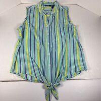 Life Style Womens Blouse Blue Green Stripe Sleeveless Tie Hem Cotton Top M New