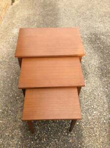 VINTAGE MID CENTURY MODERN NEST TEAK TABLES -  ABSOLUTELY  ORIGINAL