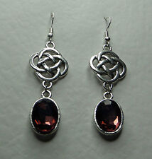 ROUND CELTIC KNOT DARK SILVER PLATED EARRINGS FACETED plum purple GLASS OVAL