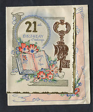 c1950s Illustrated 21st Birthday Card: Flowers, Books & Key: Your Future Bright