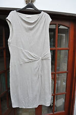Kaliko beige cowl-neck sleeveless jersey dress - size 16 - very comfy!