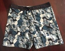 Vintage 80s 90s Quiksilver Hawaiian Hibiscus Surf Board Shorts Swim Trunks Sz 38
