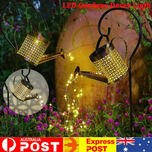 Solar LED Watering Can String Light Outdoor Garden Art Waterfall Decoration Lamp