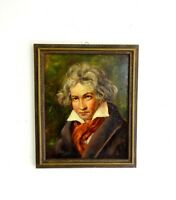 ORIGINAL ART DECO OIL ON CANVAS PAINTING IN FRAME BEETHOVEN SIGNED A.HEINEN 1920