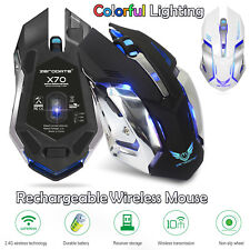 Gaming Mice PC USB 2.4GHz Rechargeable Wireless Ergonomic Mouse Colorful Light