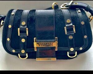 Rare GIANNI VERSACE Black Leather and Pony Fur Handbag