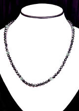 49.15+ CT BLACK MOISSANITE & RAW DIAMOND NECKLACE BEADS .925 SILVER CLASP 18inch