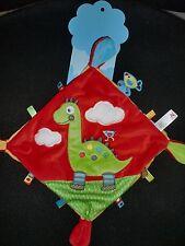 doudou plat dinosaure dragon rouge jaune vert étiquette oiseau NICOTOY