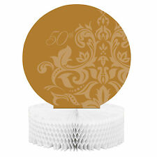 Golden Wedding 50th Anniversary table Centrepiece Decoration - honeycomb base
