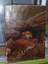 ANTIQUE VICTORIAN TIGER LAYING IN THE ROCK OILOGRAPH PRINT ON STREATCHER CANVAS