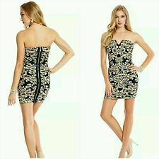 NWT Guess by Marciano beige and gold Romantic Jacquard bandage Dress size S