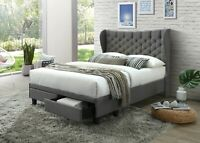 Upholstered Cloth Platform Bed With Headboard And ** 2 Under bed Storage Drawers
