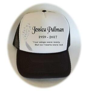 Personalized MEMORIAL HAT Baseball Style Trucker Cap NAME DATES Personal MESSAGE