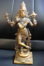Lord VISHNU Rare Antique Bronze Carved Hindu Beautifully Detailed Figure Statue
