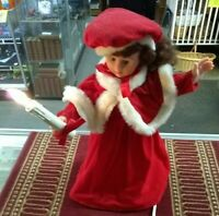 """Vintage Rennoc 19"""" Christmas Caroler Doll Girl Animated With lighted Candle (S/R"""