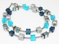 Würfelkette Hämatit Kette Collier grau Glas Montana Blau Türkis Strass 082c